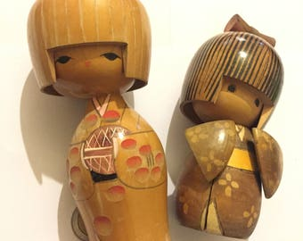 Vintage Wooden Japanese Dolls, Hand Carved And Painted, Signed Oriental Collectables