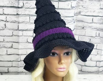 Witch Hat | Adult Witches Hat | Black and Orange Witch Hat | Halloween Costume | Witch Costume Hat | Made To Order Witches Hat | Adult Hat