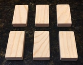 Extra Thick & Chunky Blank Domino Wood Rectangle Tiles, 2 inch x 1 inch x 3/8 inch, Unfinished Pine, for Arts, Crafts, Jewelry