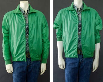 Vintage Men's Jacket, 60s Men's Coat, Thalhimers Green Lightweight Jacket, Retro Nylon Windbreaker, Men's Athletic Jacket, Men's Size Large