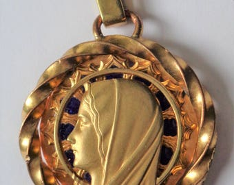 Antique French Religious Medal Virgin Mary Signed Augis