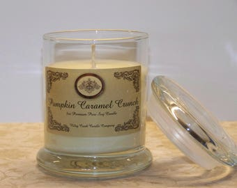 Pumpkin Caramel Crunch Premium Holiday Scent Pure Soy Candle 8oz