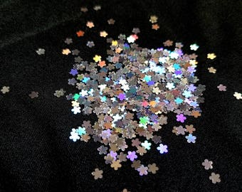 solvent-resistant glitter shapes-silver hologram blossoms--flowers