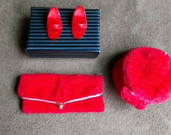 Vintage Barbie Red Velvet Purse, Hat and Matching Red Heels