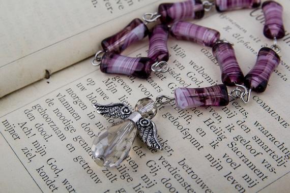 Purple glass bead mini Rosary, prayer beads with crystal angel