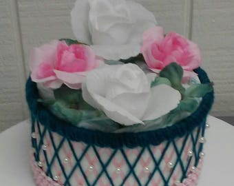 One Tier Beaded Tutu Diaper Cake Teal and Light Pink Elegant Themed Baby Girl Shower Decor Creative Table Centerpiece Baby Gift