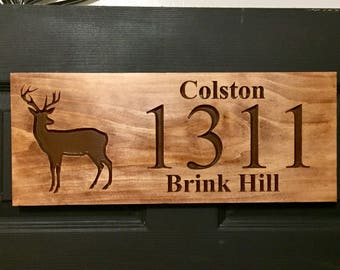 Wood Carved Sign, Address Plaque,  Outdoor Wood Sign,  Welcome Sign,  Deer Silhouette,  carved Wooden Sign,  Personalized Cabin Sign