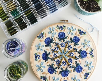 Blue Flower Mandala Embroidery Hoop Art