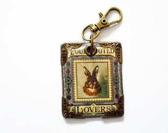 keyring, keychain, bag charm, purse charm, Hare, Rabbit, furry friend.