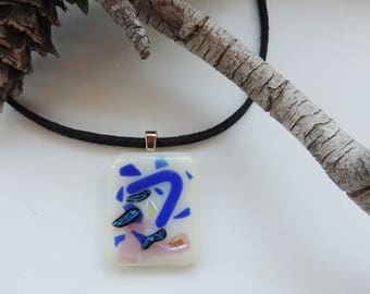 Fused glass necklace, blue rectangle glass pendant necklace