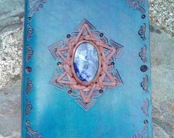 Impressive A6 Hand made Leather binder with Sodalite crystal