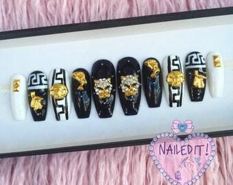 NAILED IT! Hand Painted False Nails - Egyptian Monochrome