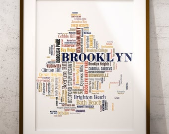 Brooklyn Map Art, Brooklyn Art Print, Brooklyn Neighborhood Map, Brooklyn Typography Art, Brooklyn Poster Print, Brooklyn Word Cloud