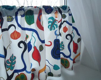 Cafe curtain. Linen valance. Botanik Fruit Curtain Valance. Scandinavian Fabric