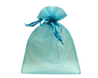 3 20 turquoise organza bag x 26 cm packaging
