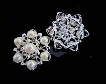 button pearls and rhinestones 26 mm
