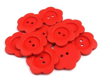 4 floral 3 '' red wooden buttons