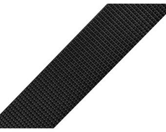 30 mm black polypropylene webbing