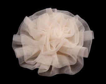 Big rose flower voile organza ivory 8 cm