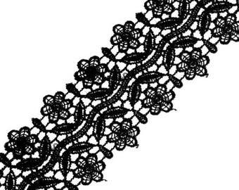 Black guipure lace point 50 mm Venetian lace