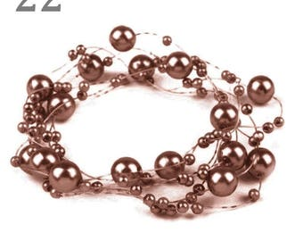 Wreath adorned with pearls 130 cm Brown glossy