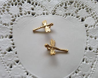 2pcs 13.5x12mm matte Golden Dragonfly shaped charm