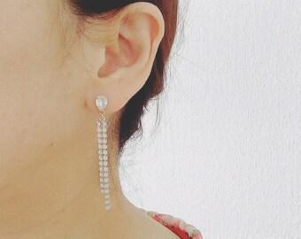 Swarovski crystal and white opal swarovski rhinestone chain drop earrings
