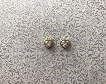 set 2 8mm cubic zirconia heart charms pendants gold