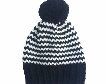 Hat, woolly hat, knitted hat, beanie, bobble hat, winter hat, pom pom, chunky wool, black and white stripes with white pom pom