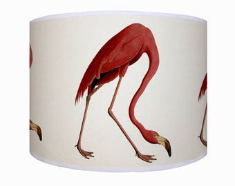 lamp shade/ ceiling light/ pendant light/ flamingo/flamingo lamp shade/ drum lampshade/ lighting/ handmade/ home/ bird