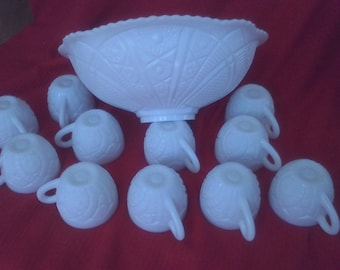 Punch Bowl Set, White milk Glass, 1950's, by Mckee , Concord Pattern, punch bowl 12 cups