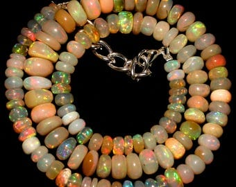 18 '' AAA smooth roundel shape multi wello fire Ethiopian opal beads strands good quality wholesale price. 1