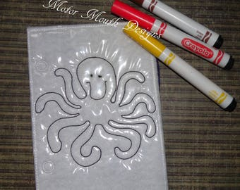 Reusable Coloring Pages - Add On Busy Book Page - Octopus - Activity Book Page - Travel Book - Toddler toys