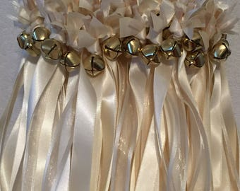 50 Wedding Wands/Wedding Ribbon Wands/Wedding Wand/Wedding Streamers/Ivory and ivory sheer with  gold bells