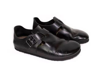 BIRKENSTOCK london clog shoes - NEW - black leather - clogs - size 40