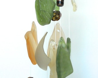 Glass wind chime - tumbled glass mobile -  tumbled glass wind chime