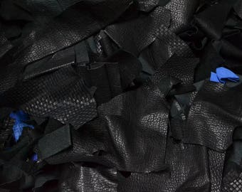 Leather Scrap 1-3 Sq Ft Cow Hide, 1 pound, 2-3 oz, basketweave embossed gator remnant - 42638