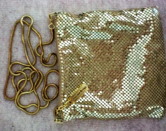 Whiting and Davis Gold Mesh Bag with Snake Chain - 5386