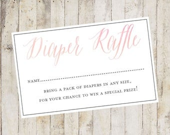 Baby Shower Printable, Baby Shower Diaper Raffle Card, Diaper Raffle Card, Baby Shower Insert Pink Baby Girl, Baby Shower Game