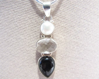 Vintage Pearl Quartz Onyx Sterling Long Pendant