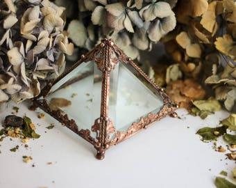 Big Pyramid glass box, Glass  casket, Geometric Box, Geometric Glass Box, Jewelry Box, Jewellery Box, wedding box, ring box, glass casket