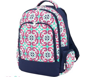 Custom Girls Canvas Backpack - Quatrefoil Floral backpack  Monogrammed backpack - Personalized Backpack - Embroidered Backpack