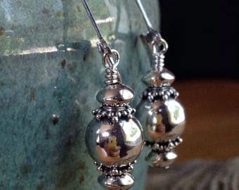Ornate Sterling Silver Ball Earrings, Classic Silver Leverback Earrings, Bali Silver, Gift for Her, Free Shipping, River of Beauty Designs