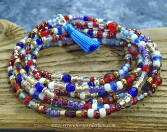 Team USA Boho Wrap Bracelet, Convertible to Multistrand Necklace