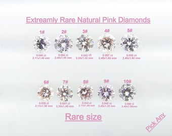 Pick Any piece - Round Brilliant Cut Natural Pink Untreated Natural Color LOOSE DIAMONDS BKK78