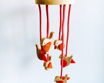 "Vintage Aarikka wooden birds mobile  named "" Punatulkut"" by Kaija Aarikka, Made in Finland, 1980s"