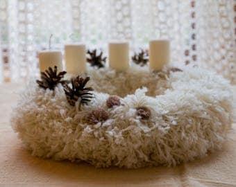 Christmas wreath, sheep wool wreath, Advent wreath, Door decor, candle holder, yarn wreath, door decor, free shipping, home xmass decoration