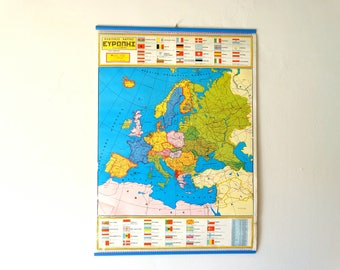 Political Chart of Europe, Geography School Map, Chart of Europe, Canvas Chart, Pull Down Chart, School Map, World Chart, Landscape Map