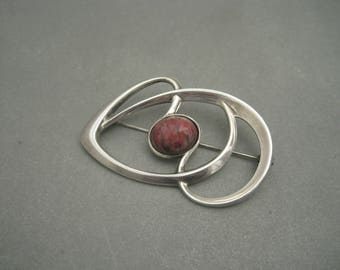 Harry Sorby for David Andersen large modernist sterling silver brooch, Norway.