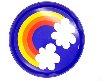 1970s Danish mid century modern serving tray platter - Per Arnoldi for Irma - psychedelic art